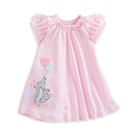 Robe et culotte rose Dumbo Layette pour bébé-0-3 mois