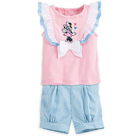 Haut et short Mickey Mouse rose pour bébé-0-3 mois
