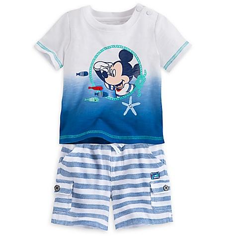 T-shirt et short Mickey Mouse Bleu pour bébé-12-18 mois