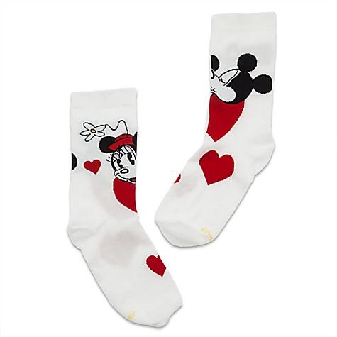 Chaussettes Mickey et Minnie Mouse à coeurs pour femmes