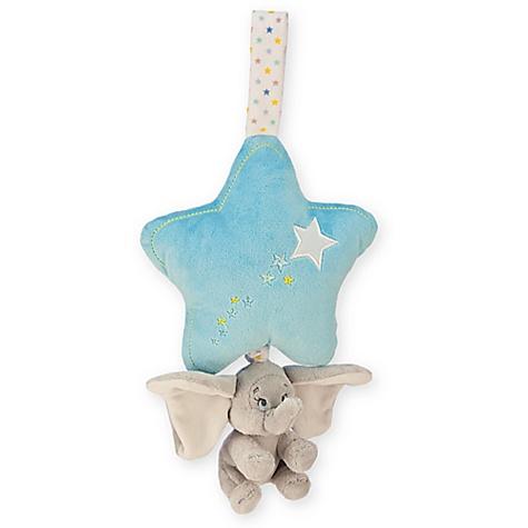 Peluche musicale à tirer Dumbo bleue pour bébé