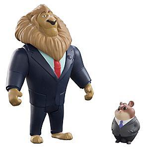 Figurines du Maire Lionheart et Lemming businessman, Zootopie