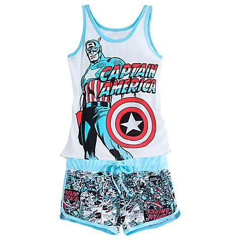 Pyjama short pour femmes Captain America-S
