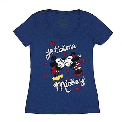 T-shirt Mickey Mouse et Minnie Mouse Je t'aime pour femmes-XL