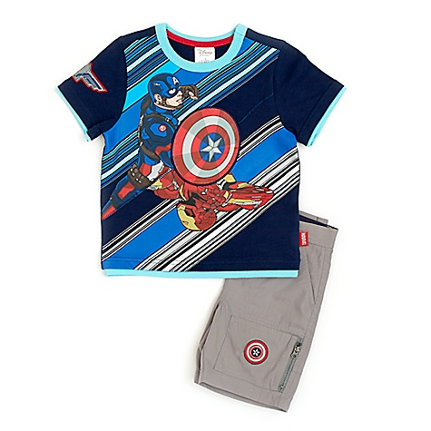 Ensemble t-shirt et short Marvel Avengers Captain America pour enfants-4 ans