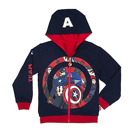 Sweatshirt à capuche réversible Captain America Civil War pour enfants-7-8 ans
